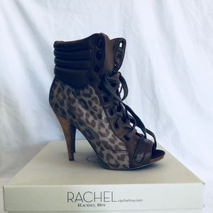 Rachel Roy Leather Lace Up Ankle Boots 6.5